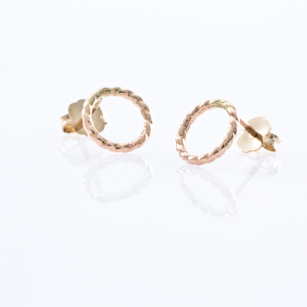 Gold Filled Stud Earrings - Braided Open Circle