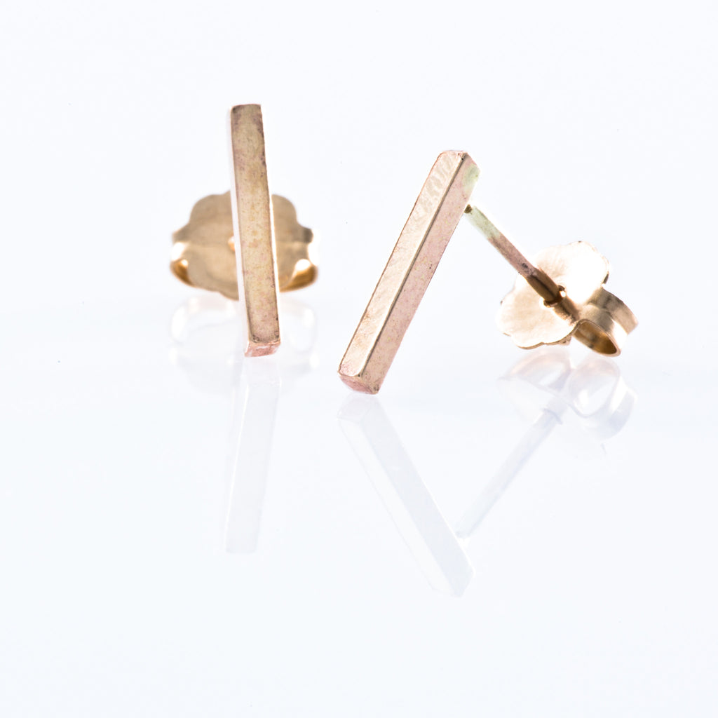 gold filled stud earrings smooth bar