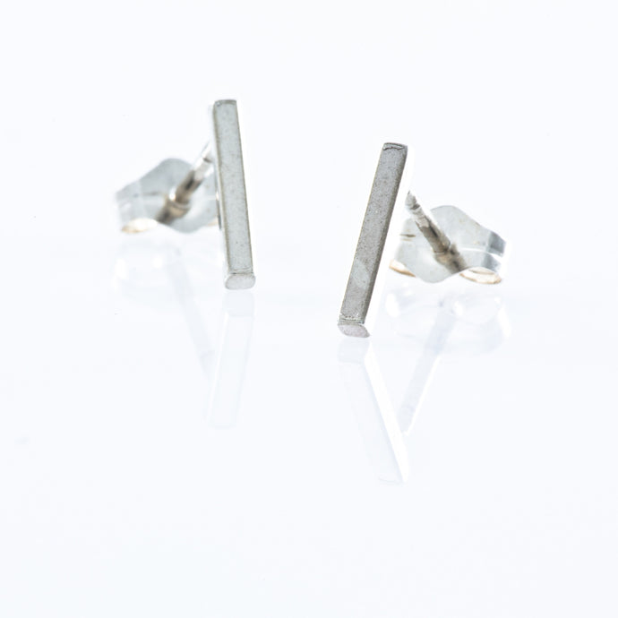 Sterling Silver Stud Earrings - Smooth Bar with Top Post