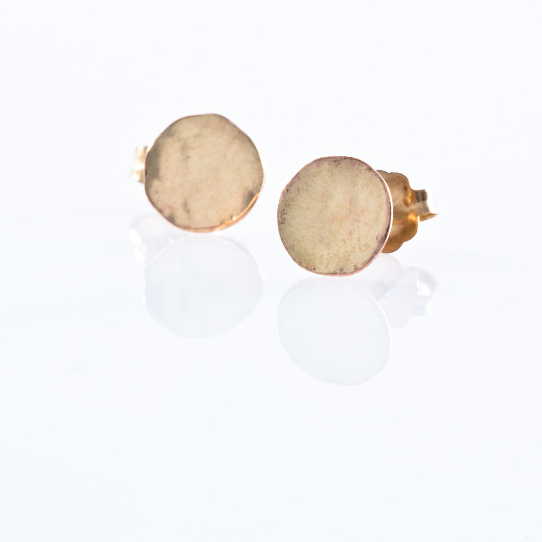 Gold Filled Stud Earrings - Hammered Filled Circle