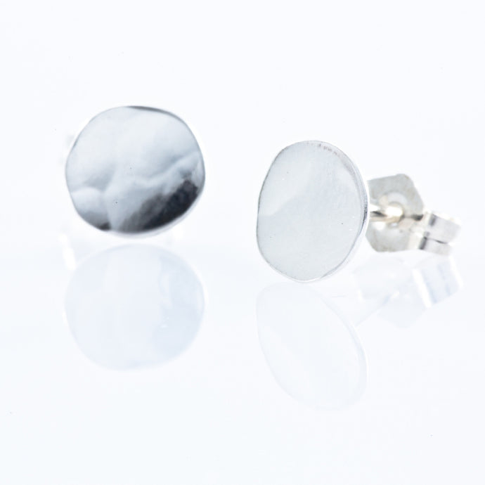 Sterling Silver Stud Earrings - Hammered Filled Circle