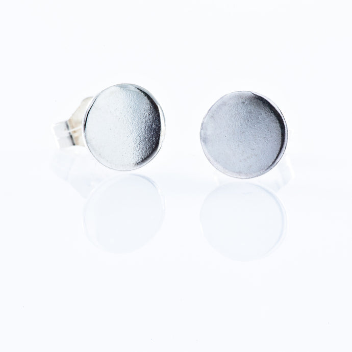 Sterling Silver Stud Earrings - Smooth Filled Circle