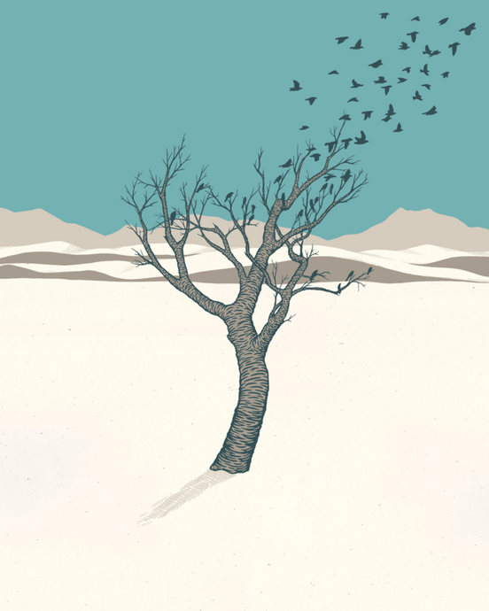 Lonely Tree at White Sands - Print