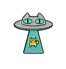 Load image into Gallery viewer, Pink Samurai - Alien Abduction Cat Enamel Pin