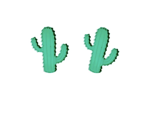 Cactus Earrings in Mirror Green
