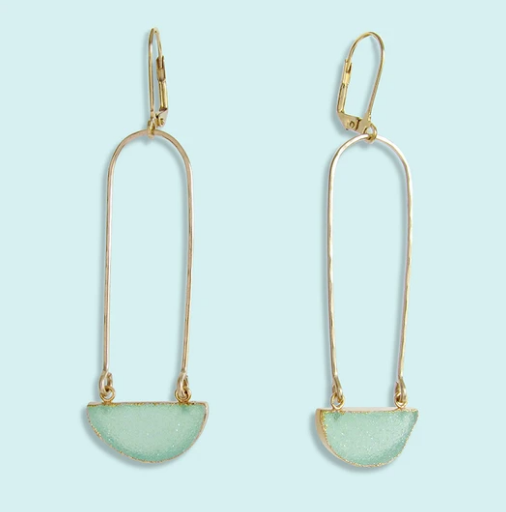 Aqua Half Moon Druzy Earrings