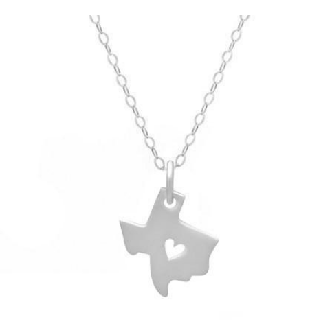 I Heart Texas Necklace - Sterling Silver