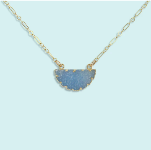 Blue Half Moon Druzy Necklace
