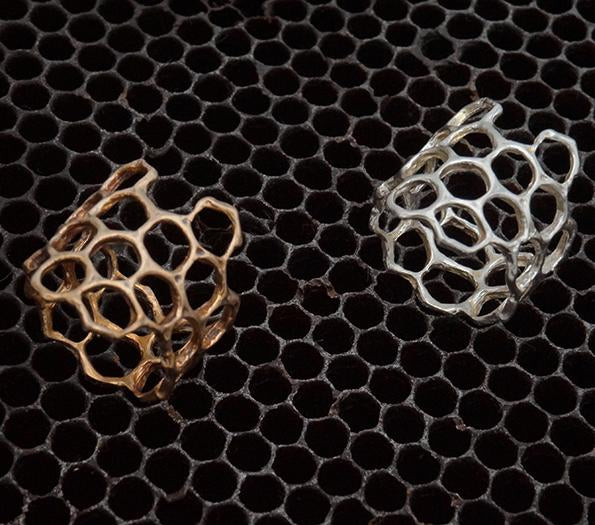 Wide Cast Honeycomb Ring