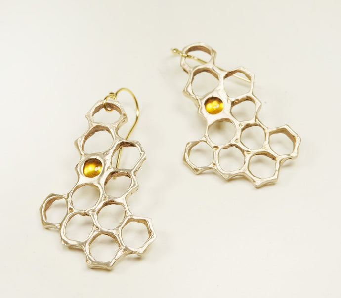 Cast Honeycomb Earrings with Citrine