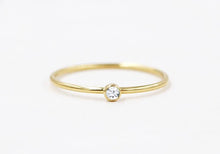 Load image into Gallery viewer, Birthstone CZ Stacking Ring Gold