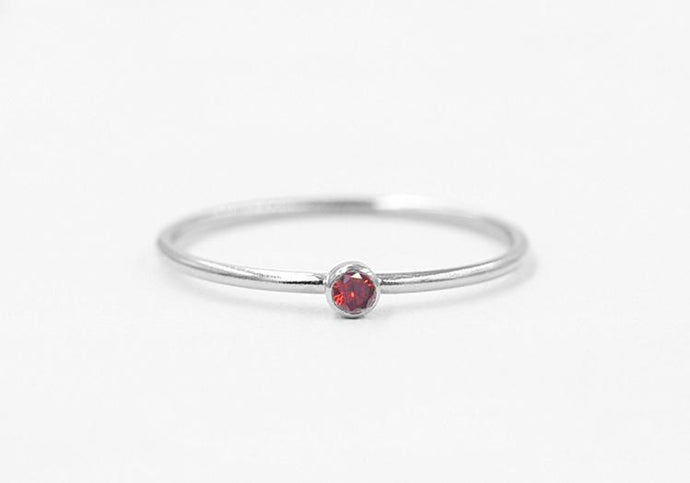 Birthstone CZ Stacking Ring Silver