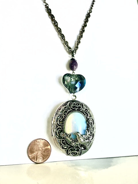 Blue Clear Heart Locket