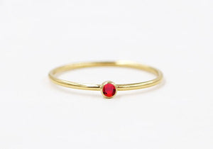 Birthstone CZ Stacking Ring Gold