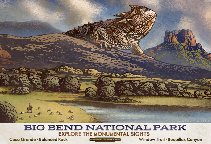 Fantasy Texas Travel Poster - Big Bend National Park - Print