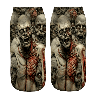 Zombie Invasion Print ankle socks