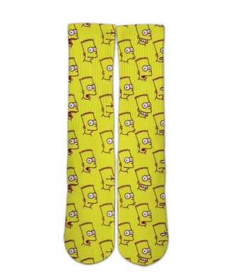 Cool Bart simpson pattern printed crew socks - DopeSoxOfficial