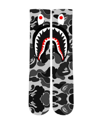 Bathing Ape Camo Grey design all over printed crew socks - DopeSoxOfficial