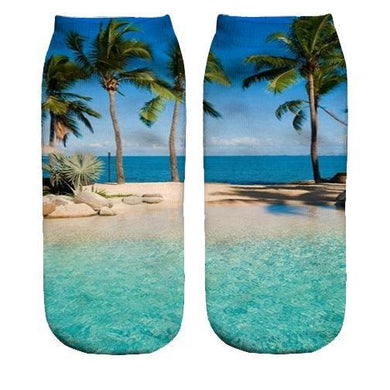 Beach Scene Printed ankle socks