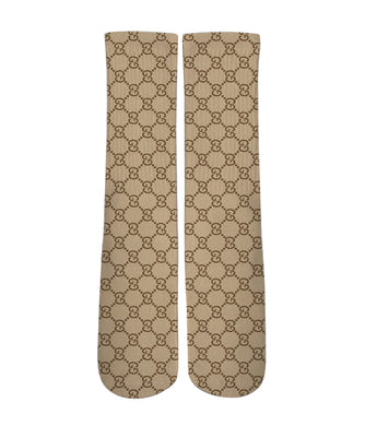 Brown gucci patter printed crew socks