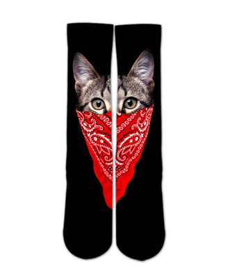 Animal Print Socks-My cat is gangster sock design-Custom Elite Crew socks - Dope Sox Official-Elite custom socks