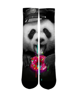 Animal Print Socks-Police Panda Bear sock design-Custom Elite Crew socks - Dope Sox Official-Elite custom socks