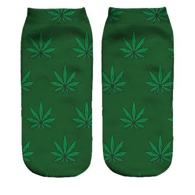 Weed pattern Printed ankle socks