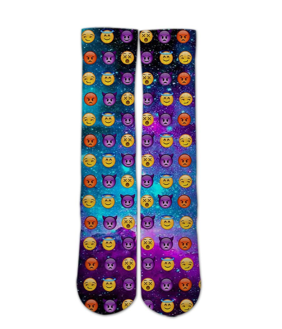 Emoji Printed Socks-Emoji Galaxy sock design-Custom Elite Crew socks - DopeSoxOfficial