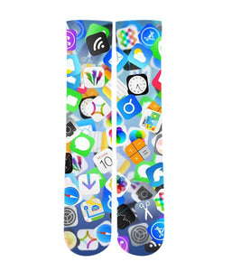iPhone app Emoji mash up Elite printed crew socks - Dope Sox Official-Elite custom socks
