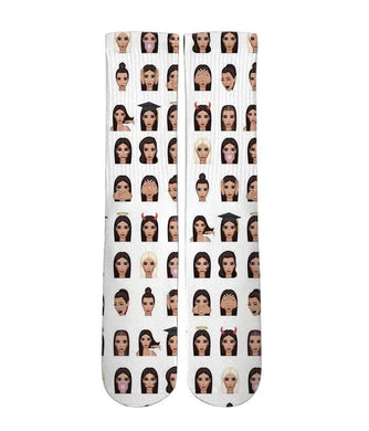 Kim K Emoji mash up Elite printed crew socks - DopeSoxOfficial