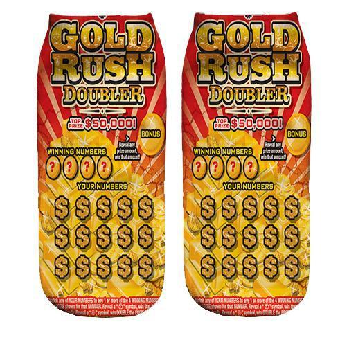 Gold rush Lottory ticket ankle socks
