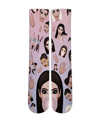 Kim kardashian mash up Elite printed crew socks - DopeSoxOfficial
