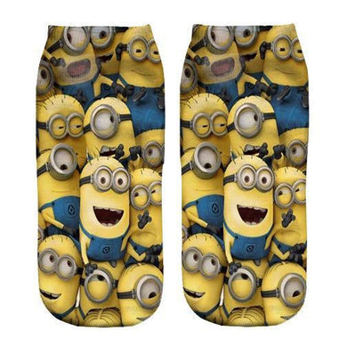 Minions pattern Printed ankle socks