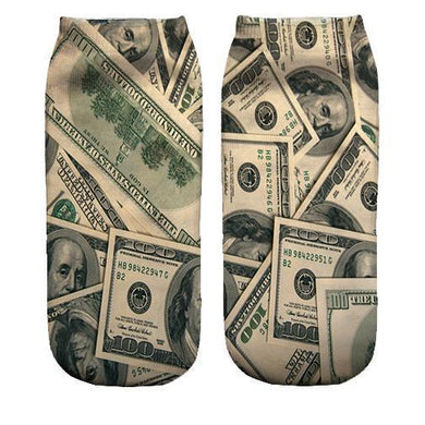 Money print ankle socks
