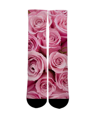 Pink Rose printed crew socks - DopeSoxOfficial
