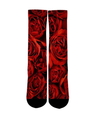 Cool Design Socks-Red Rose sock design-3d printed socks - DopeSoxOfficial