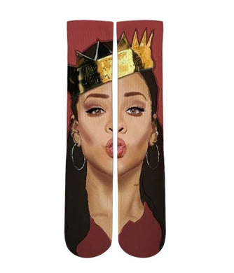 Rihanna Elite custom printed crew socks - DopeSoxOfficial