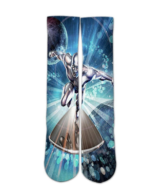 Silver Surfer printed crew socks - DopeSoxOfficial