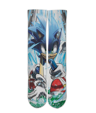 Sonic the hedgehog printed crew socks - DopeSoxOfficial