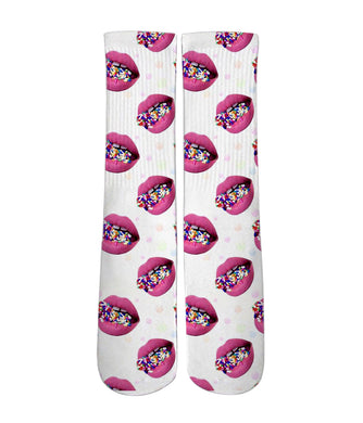 Printed socks- Sexy lips and sprinkles - DopeSoxOfficial