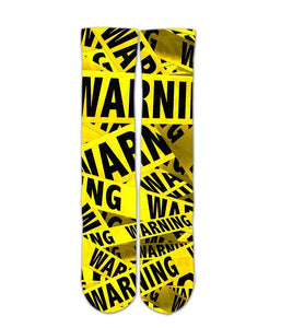 Warning tape graphic printed crew socks