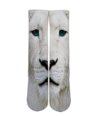 Animal Print Socks-White lion sock design-Custom Elite Crew socks - Dope Sox Official-Elite custom socks