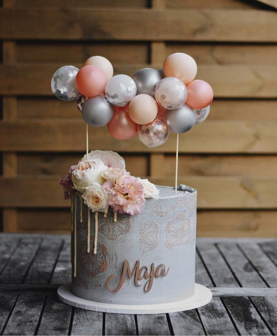 Baby Shower Pink and Grey Cake Topper Mini Balloon Garland