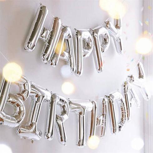 HAPPY BIRTHDAY Block Phrase Script Balloon Silver