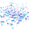 Blue + Pink Iridescent Unicorn Confetti in Indirect Light