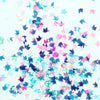 Blue + Pink Iridescent Unicorn Confetti in Direct Light