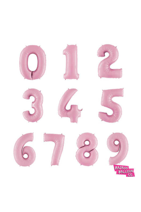 Giant Number Balloons in Baby Pink