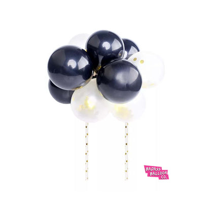 Black and Silver Cake Topper Mini Balloon Garland