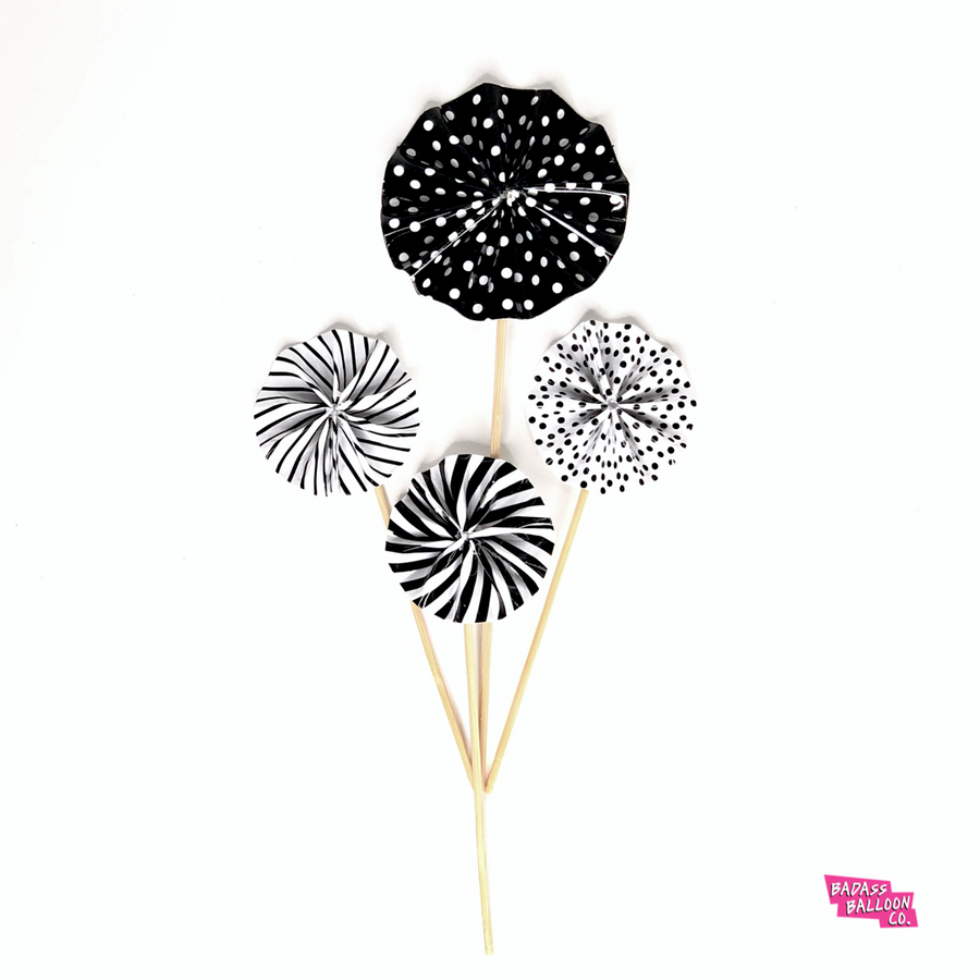 Gold or Black Paper Fan Flower Cake Topper