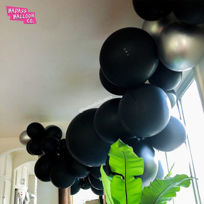 Black and grey balloon garland - by Badass Balloon Co